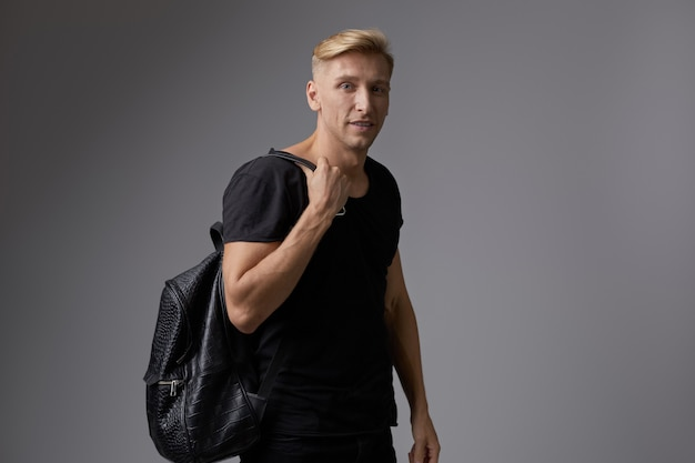 Handsome blond young man posing Free Photo