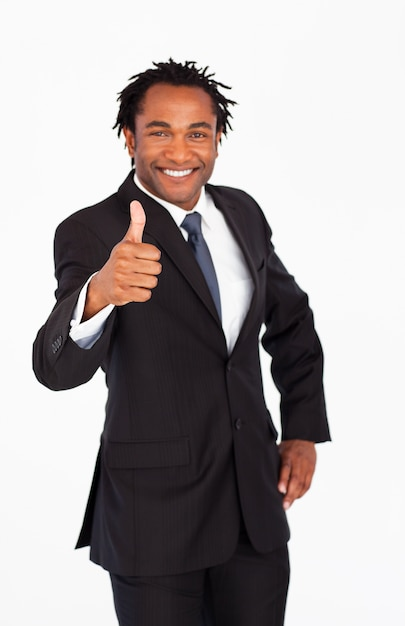 Handsome businessman with thumb up Premium Photo