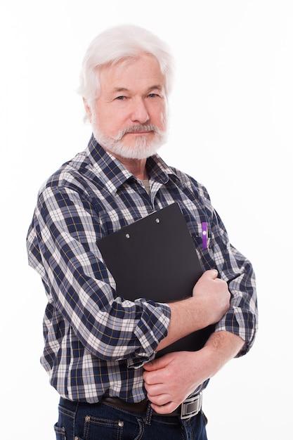 Handsome elderly man with folder Free Photo