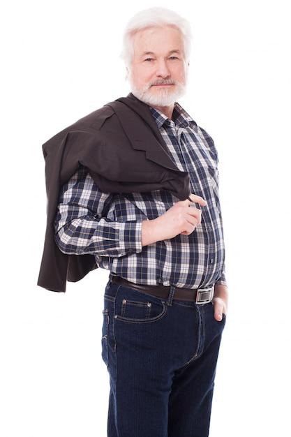 Handsome elderly man with grey beard Free Photo