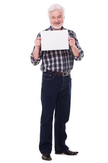 Handsome elderly man with paper Free Photo