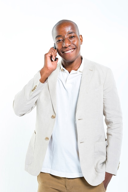 Handsome man talking on the phone Free Photo