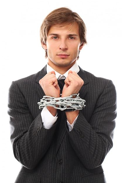 Красивый молодой бизнесмен портрет прикован Бесплатные Фотографии