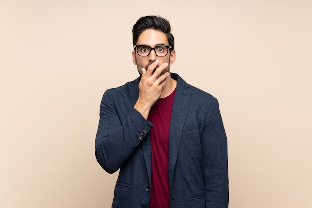 Handsome young man isolated  surprised and shocked while looking right Premium Photo
