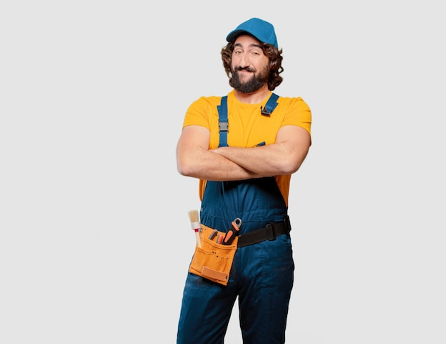 Handyman worker satisfied and proud Premium Photo