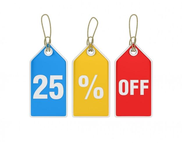 Hanging shopping price tag 25% off Premium Photo