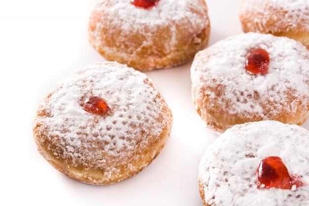 Hanukkah sufganiyot isolated on white traditional jewish donuts for hanukkah Premium Photo