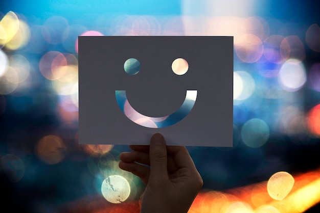 Happines cheerful perforated paper smiley face Free Photo