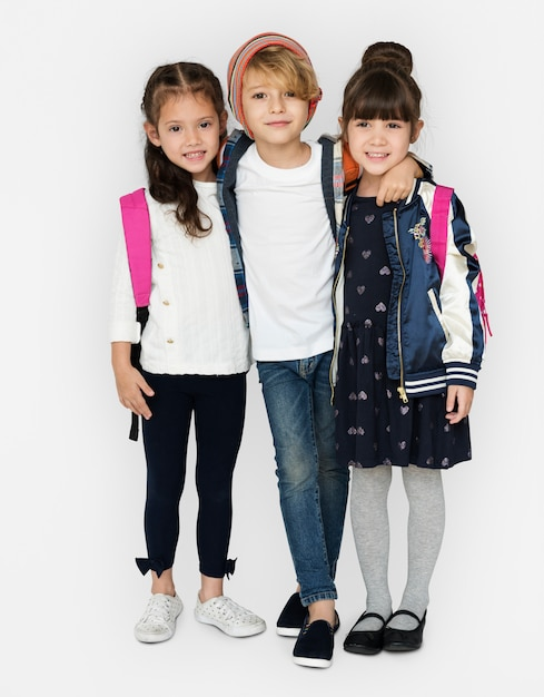 Happiness group of cute and adorable students are back to school Premium Photo