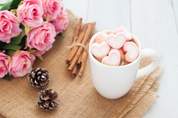 Happiness moment. sweet beverage, hot chocolate with pastel marshmallows Premium Photo