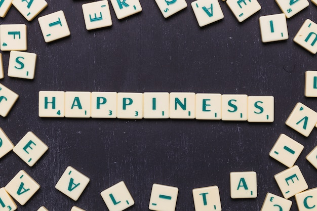 Happiness text made from scrabble game letters Free Photo