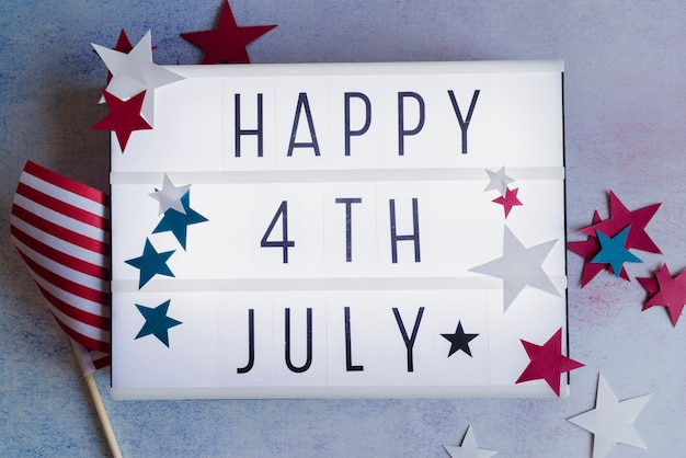 Happy 4th of july sign with stars Free Photo