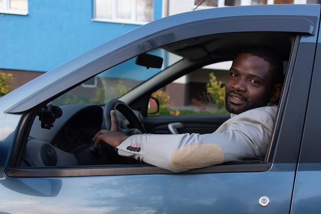 Happy african american in  car Premium Photo