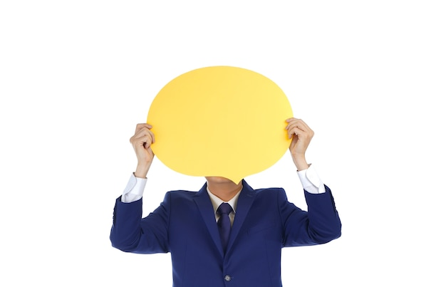 Happy asian smiling young business man holding smiley bubble speech show emotion, isolated on white background Premium Photo