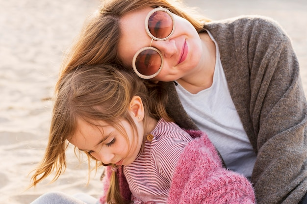Happy beautiful mother and daughter Free Photo