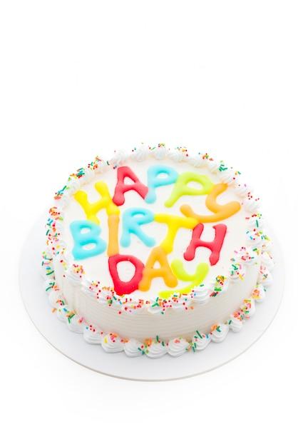Happy Birthday Cake Isolated On White Background Photo