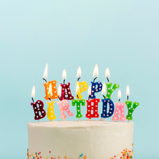 Stupendous Happy Birthday Candles Over The Cake Against Blue Backdrop Free Birthday Cards Printable Opercafe Filternl