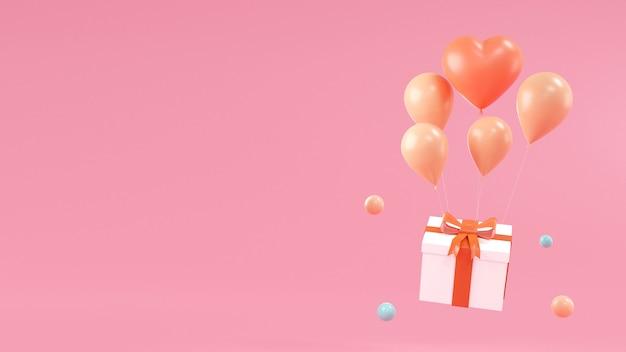 ギフトボックス、ピンクblackgroundのバルーンでお誕生日おめでとうデザイン。 3dレンダリング Premium写真