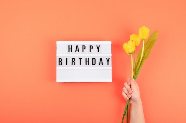 Happy birthday flat lay Premium Photo