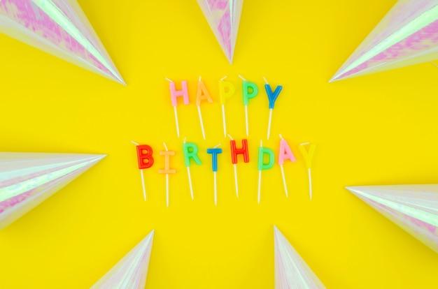 Happy birthday message  and birthday hats Free Photo