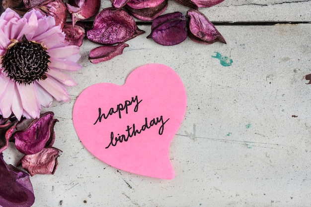 Happy birthday note in heart shape paper with pink flowers photo happy birthday note in heart shape paper with pink flowers free photo mightylinksfo