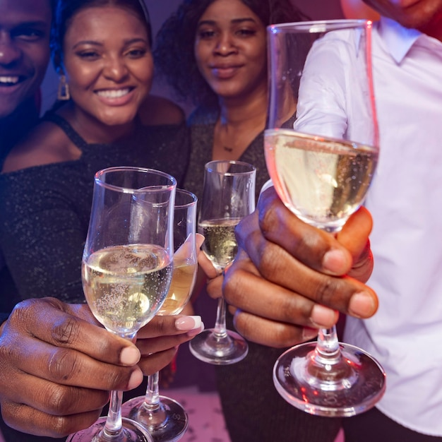 Happy birthday party toasting champagne Free Photo
