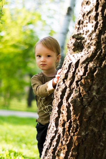 Happy boy behind a tree Free Photo