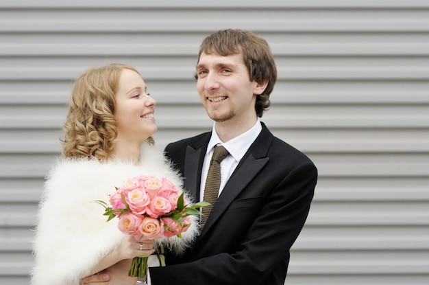 Happy bride and groom outdoors Premium Photo