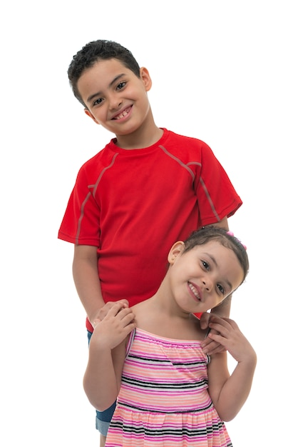 Happy brother and sister smiling Premium Photo