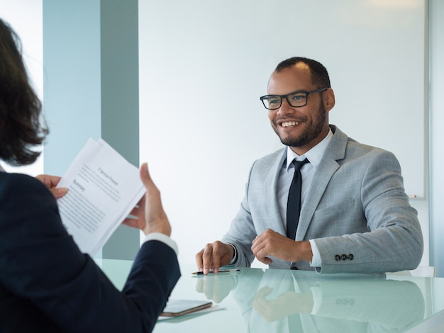 Happy businessman satisfied with deal Free Photo