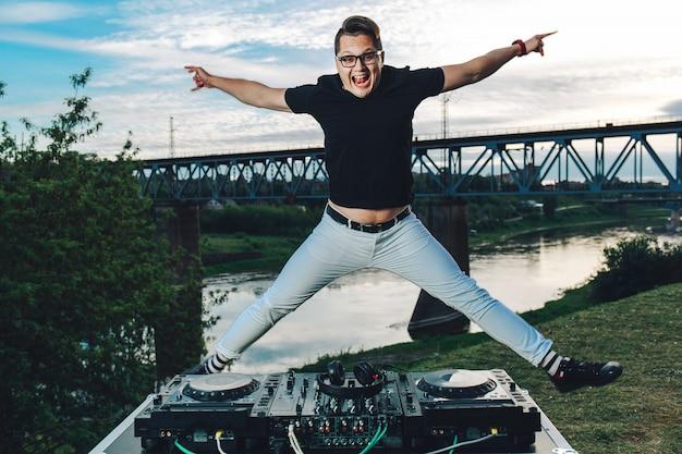 Happy cheerful guy jumping in joy Premium Photo
