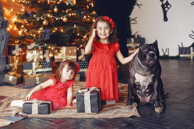 幸せな子供とクリスマスプレゼントの犬。赤いドレスを着た子供。家で犬と楽しんでいる赤ちゃん。クリスマスの休日の概念 無料写真