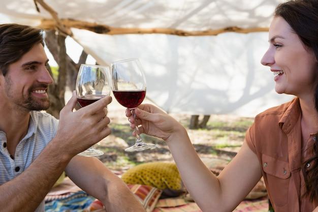 幸せなカップル乾杯ワイングラス 無料写真