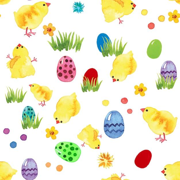 Счастливой пасхи акварель бесшовные с яйцами и цыплятами Premium Фотографии