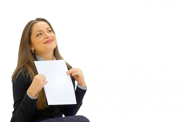Happy entrepreneur woman reading good news in a letter on sofa Premium Photo