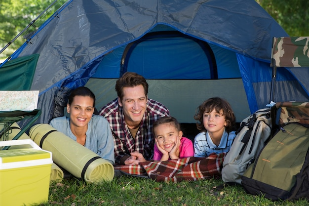 Premium Photo   Happy family on a camping trip in their tent