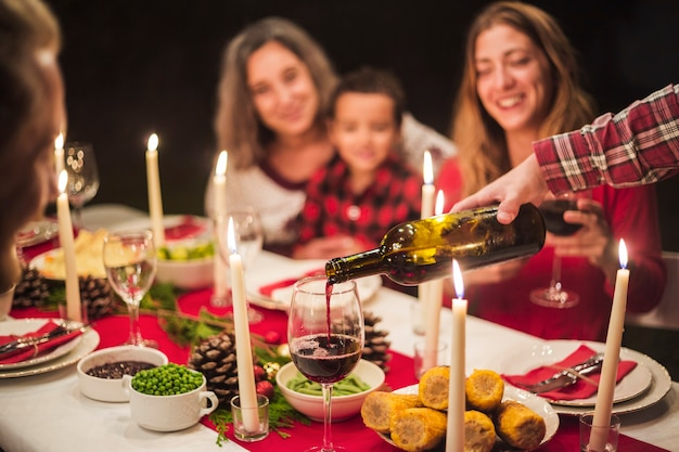 Happy family at christmas dinner Free Photo