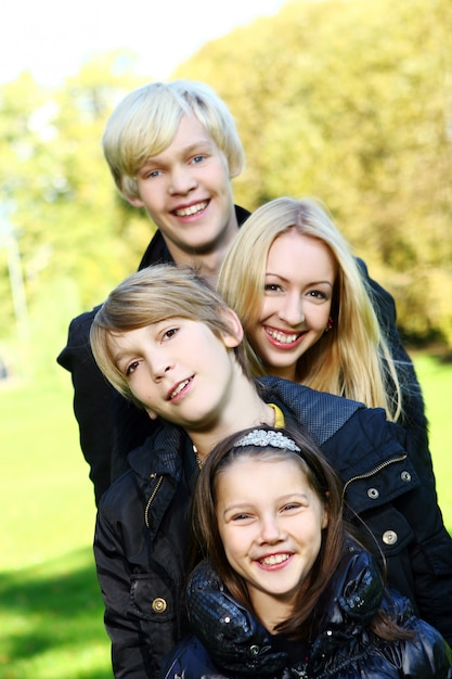 Happy family have fun in park Free Photo