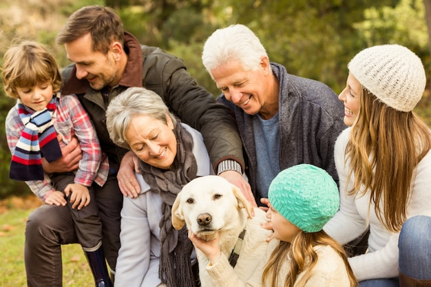 Happy family in the park together Premium Photo
