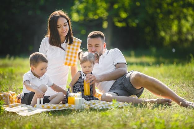 Happy family on picnic Premium Photo