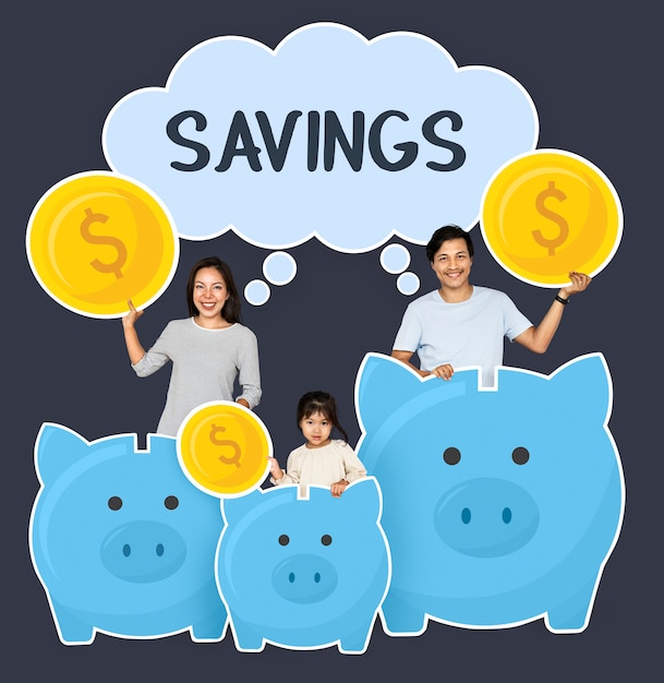 Happy family savings for their future Premium Photo