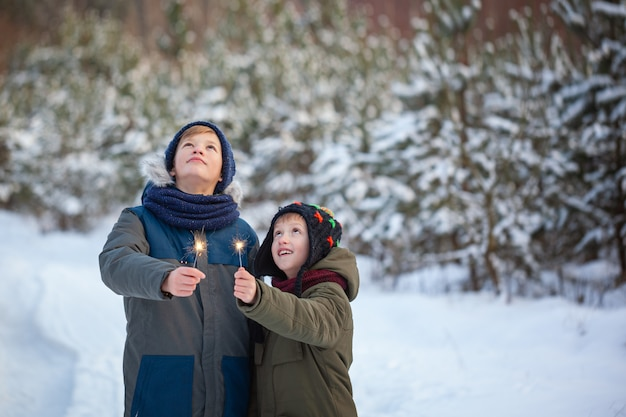 Happy family two brothers keep a sparklers or bengal fires outdoor in beautiful winter forest. Premium Photo