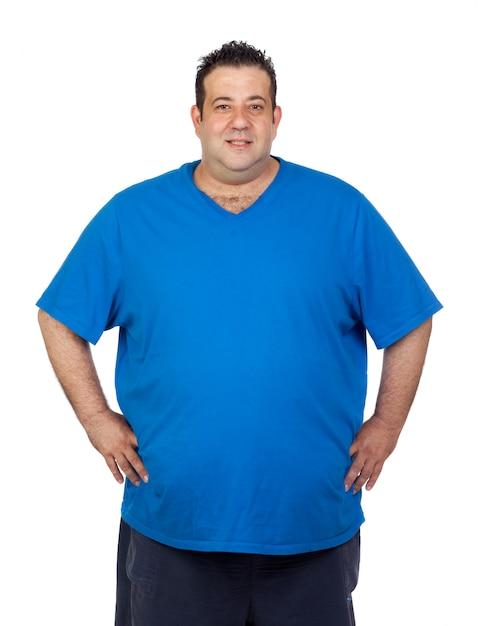 Happy fat man isolated on white background Premium Photo