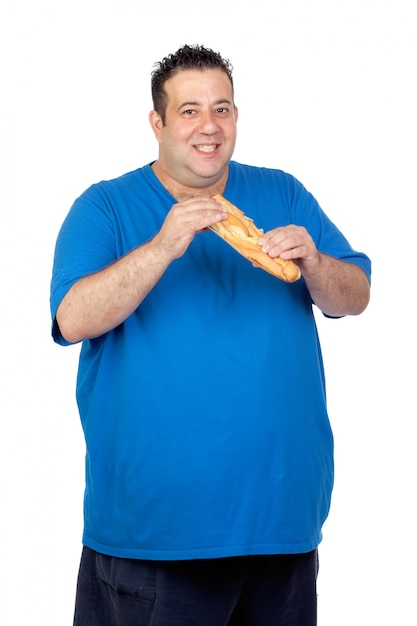 Happy fat man with a large bread isolated on white background Premium Photo