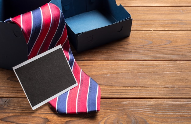 Happy father's day. tie on the wooden table Premium Photo