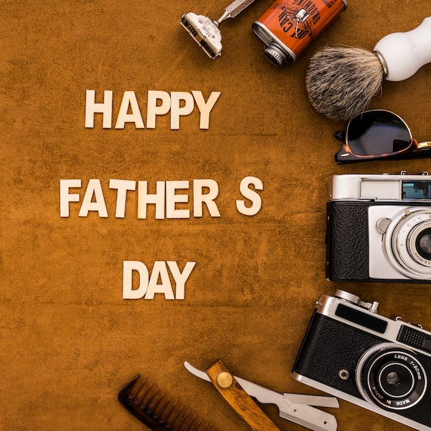 happy father s day with masculine objects photo free download