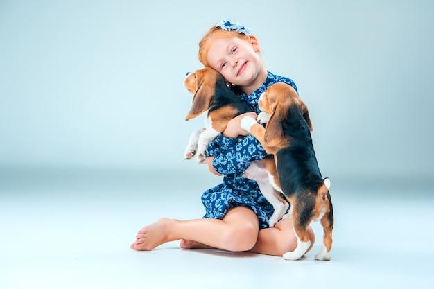 Ragazza felice e due cuccioli di beagle su gray Foto Gratuite