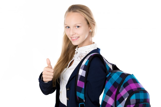 Happy girl with her backpack Free Photo