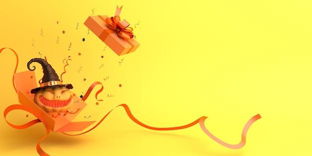 Счастливый хэллоуин украшение фон с открытой подарочной коробкой и копией пространства тыквы Premium Фотографии