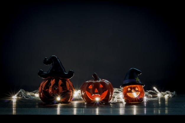 Happy Halloween Decorations Festival ConceptMix Variety Objects On The Modern Rustic Wood At Home